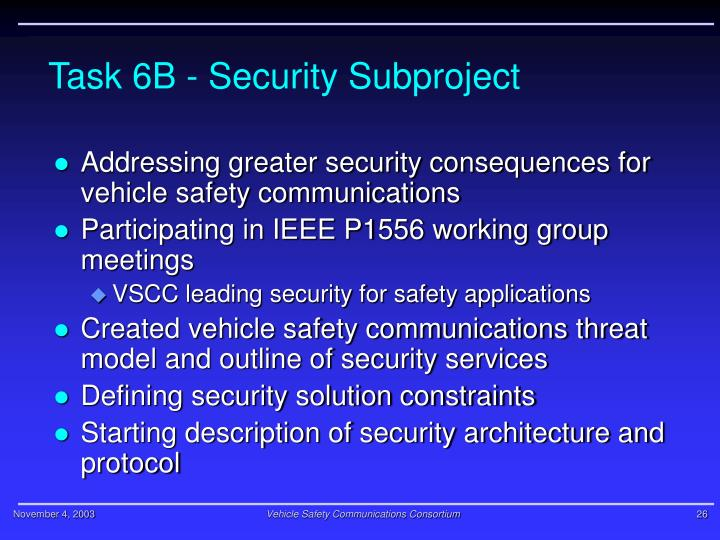 Task 6B - Security Subproject