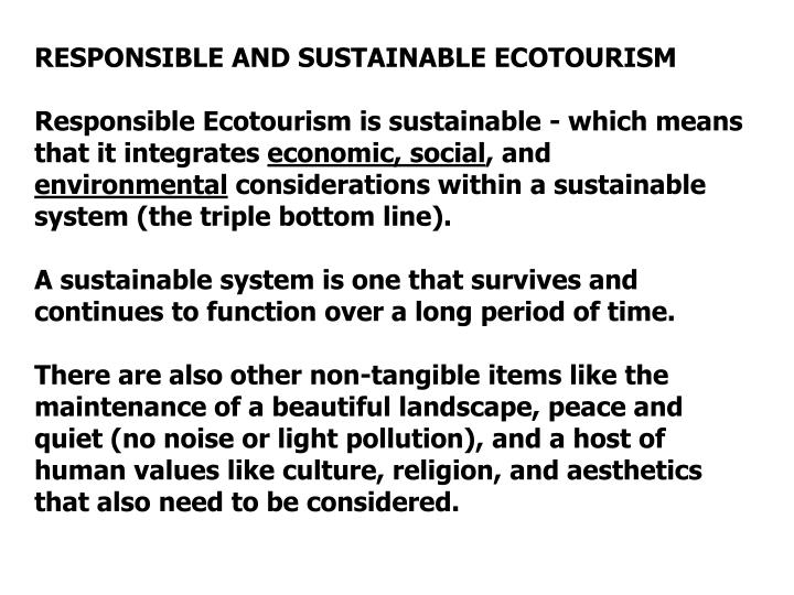 RESPONSIBLE AND SUSTAINABLE ECOTOURISM