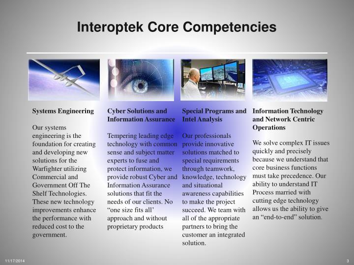 Interoptek Core Competencies