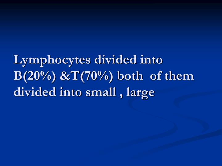 Lymphocytes divided into B(20%) &T(70%) both  of them divided into small , large