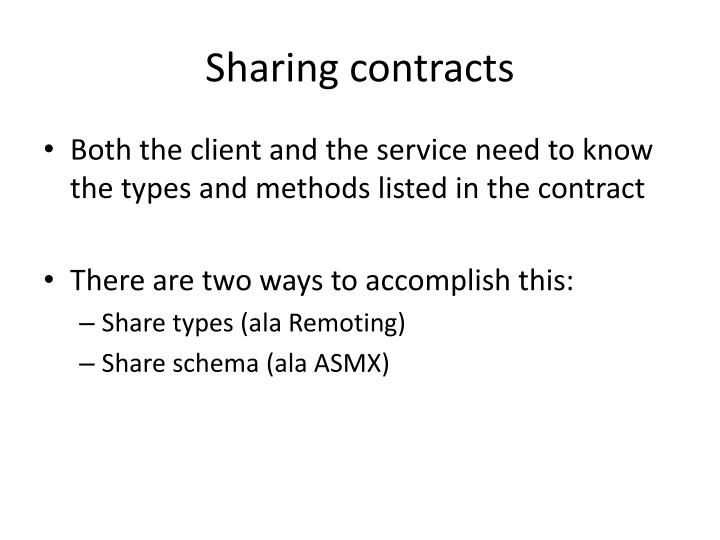 Sharing contracts