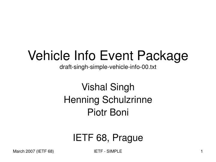 vehicle info event package draft singh simple vehicle info 00 txt