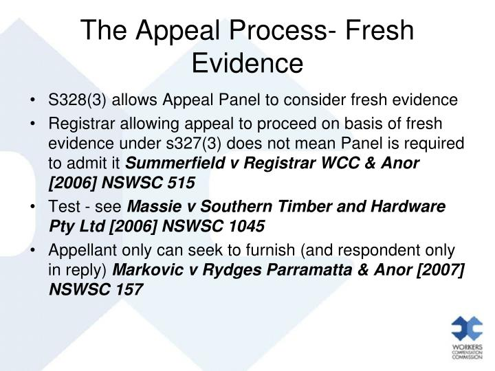 The Appeal Process- Fresh Evidence