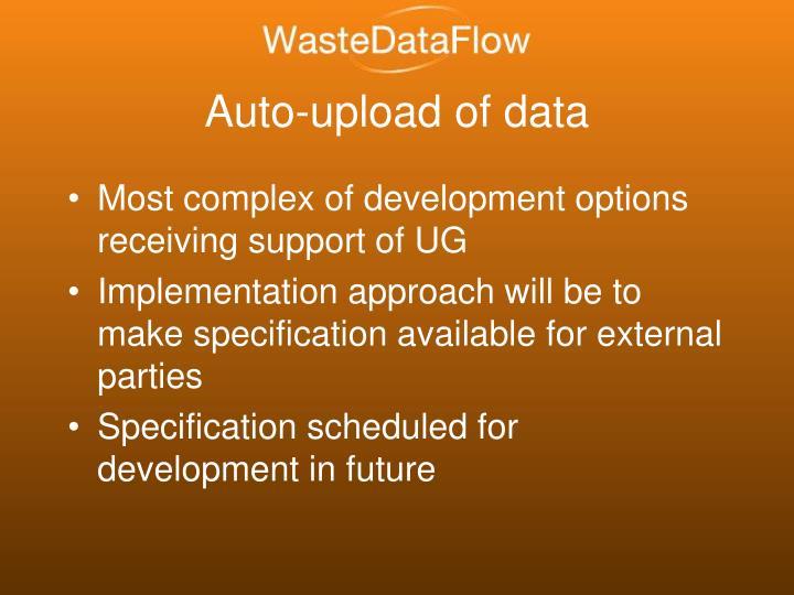 Auto-upload of data