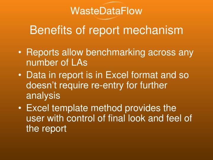 Benefits of report mechanism