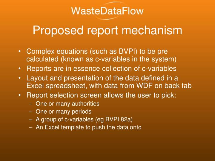 Proposed report mechanism