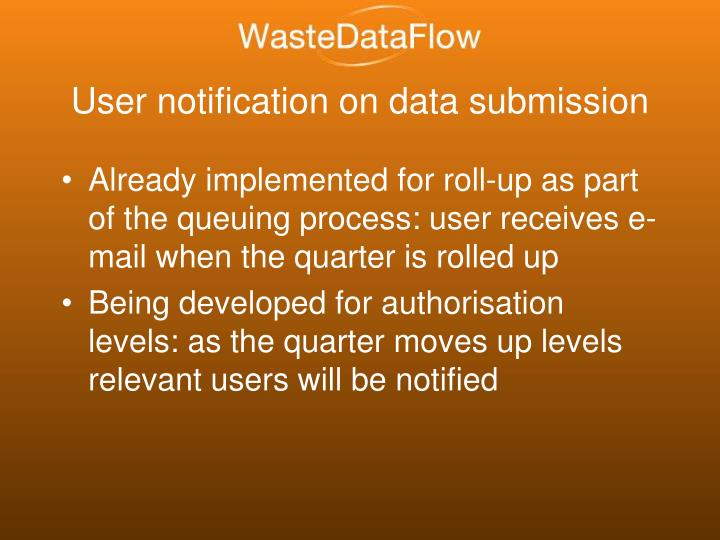 User notification on data submission