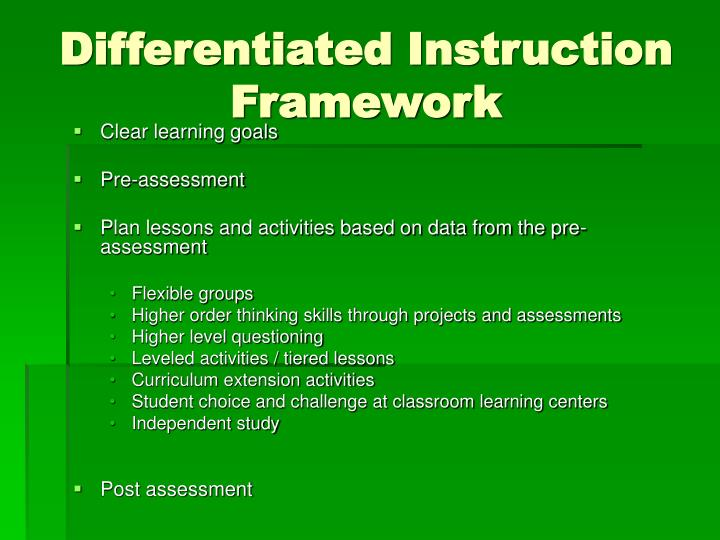 Differentiated Instruction Framework