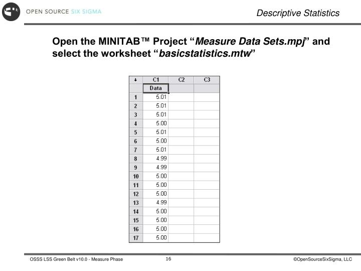 Open the MINITAB™ Project ""