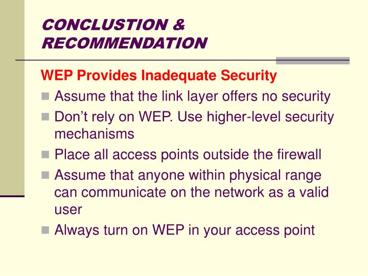 CONCLUSTION & RECOMMENDATION