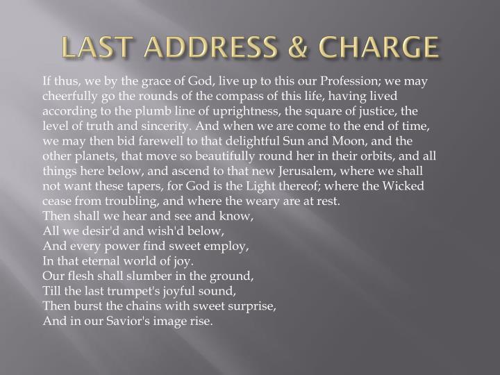 LAST ADDRESS & CHARGE
