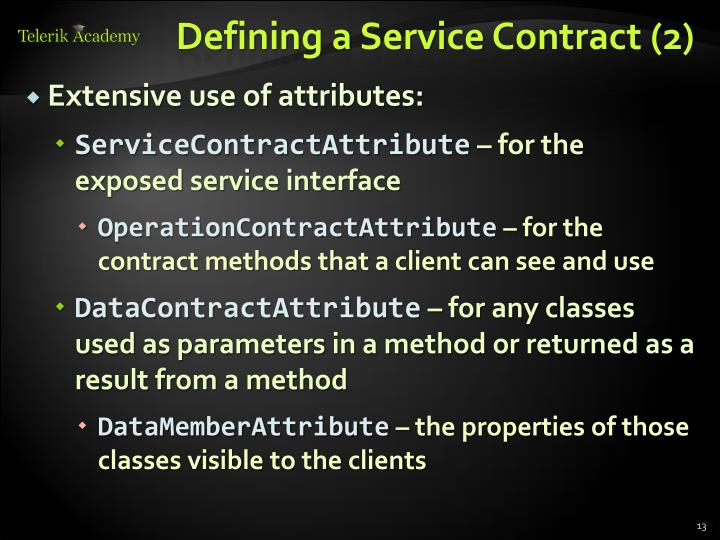 Defining a Service Contract (