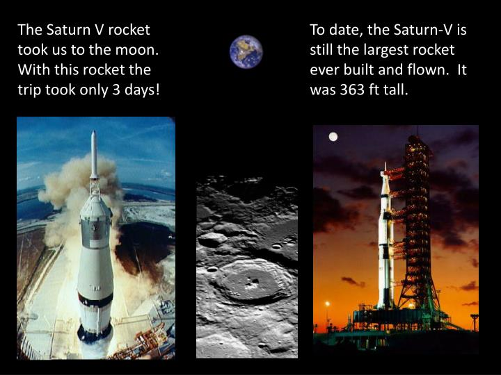 The Saturn V rocket took us to the moon.  With this rocket the trip took only 3 days!