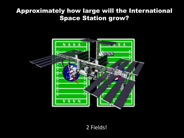 Approximately how large will the International Space Station grow?