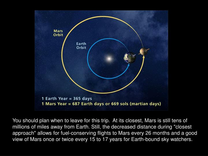 "You should plan when to leave for this trip.  At its closest, Mars is still tens of millions of miles away from Earth. Still, the decreased distance during ""closest approach"" allows for fuel-conserving flights to Mars every 26 months and a good view of Mars once or twice every 15 to 17 years for Earth-bound sky watchers."