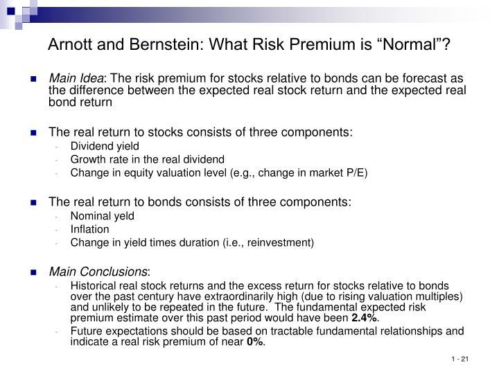 """Arnott and Bernstein: What Risk Premium is """"Normal""""?"""