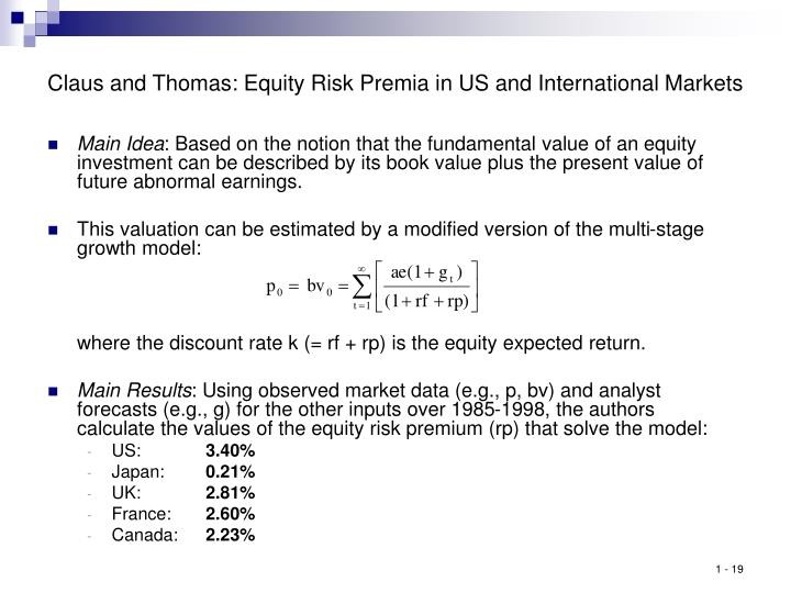 Claus and Thomas: Equity Risk Premia in US and International Markets
