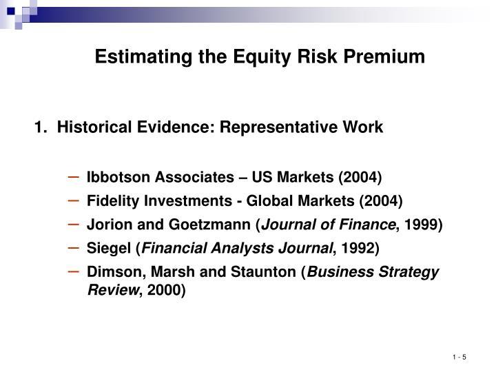 Estimating the Equity Risk Premium