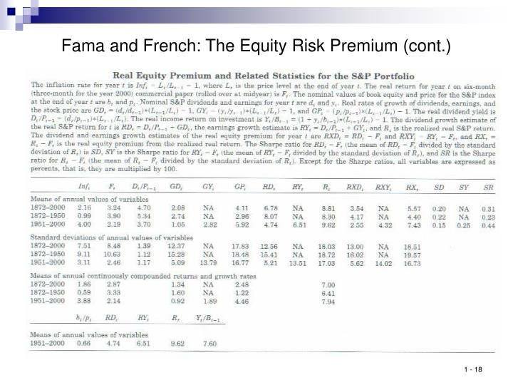 Fama and French: The Equity Risk Premium (cont.)