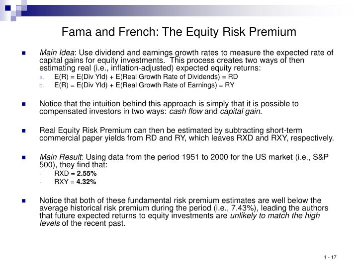 Fama and French: The Equity Risk Premium