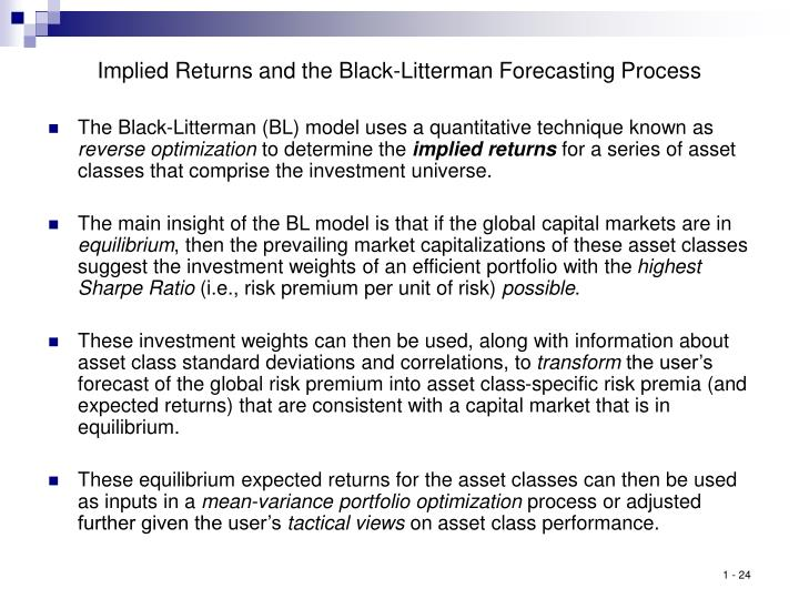 Implied Returns and the Black-Litterman Forecasting Process