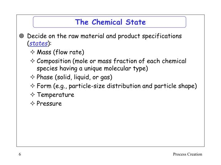 The Chemical State