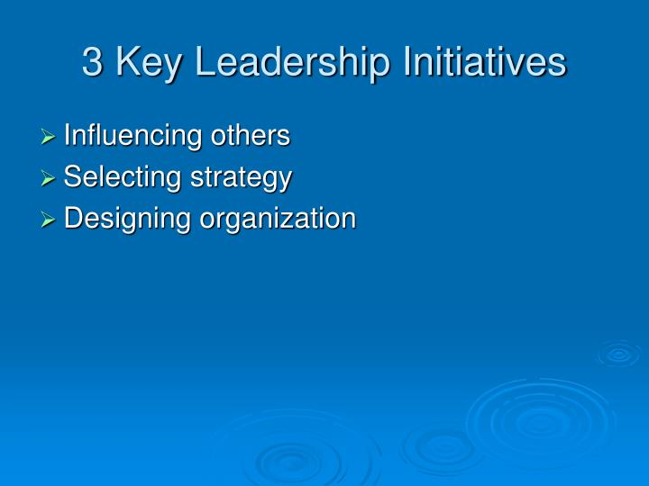 3 Key Leadership Initiatives