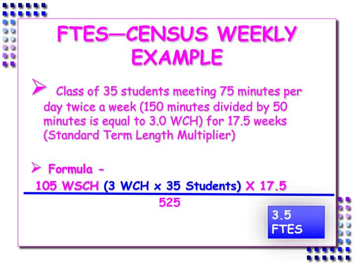 FTES—CENSUS WEEKLY EXAMPLE