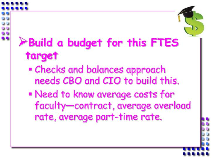Build a budget for this FTES target