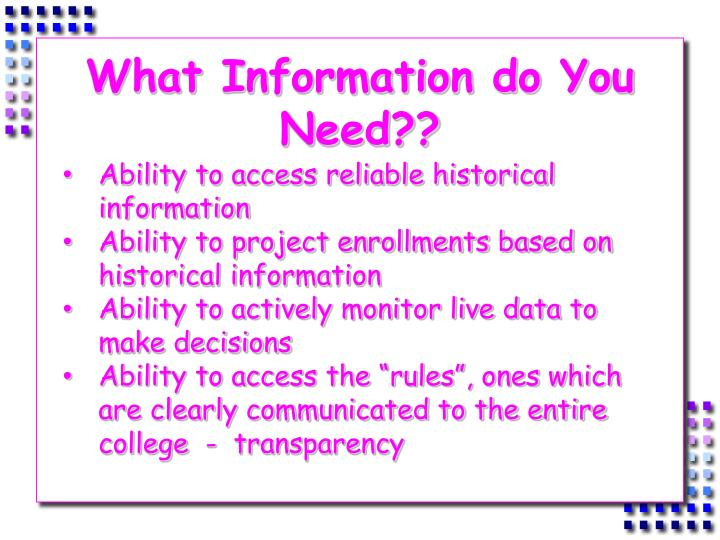 What Information do You Need??