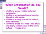 what information do you need