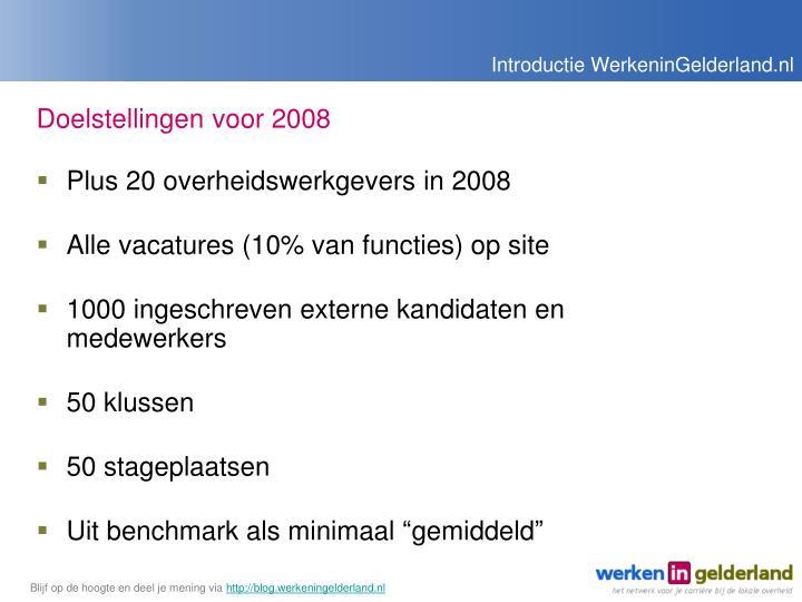 Doelstellingen voor 2008