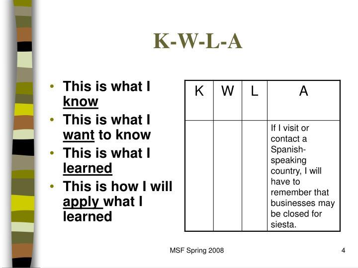 K-W-L-A