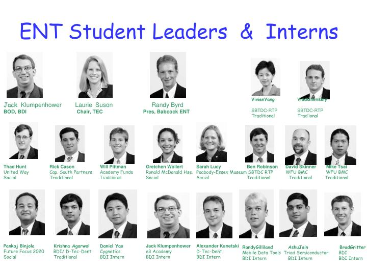 ENT Student Leaders  &  Interns