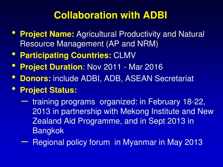 Collaboration with ADBI