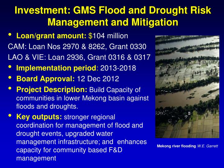 Investment: GMS Flood and Drought Risk Management and Mitigation