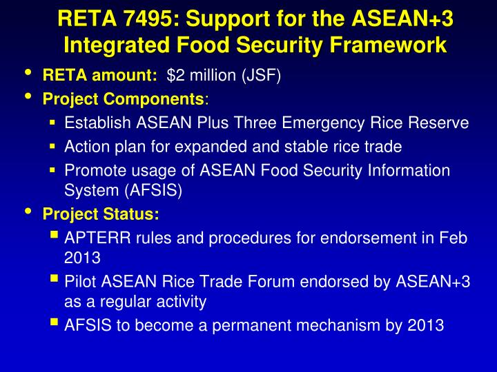 RETA 7495: Support for the ASEAN+3 Integrated Food Security Framework
