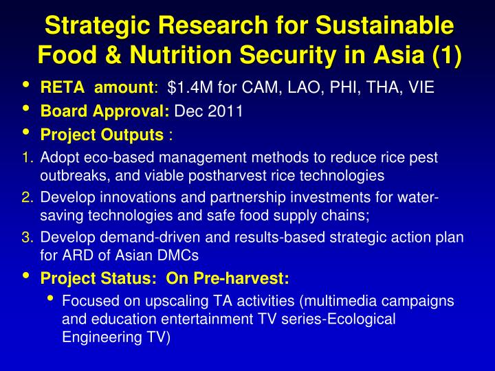 Strategic Research for Sustainable Food & Nutrition Security in Asia (1)