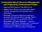 sustainable natural resource management and productivity enhancement project