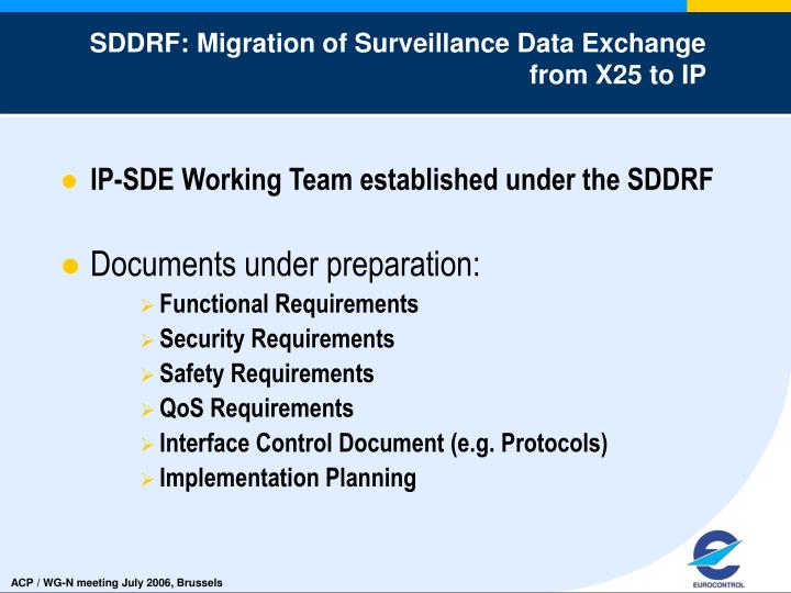 SDDRF: Migration of Surveillance Data Exchange from X25 to IP