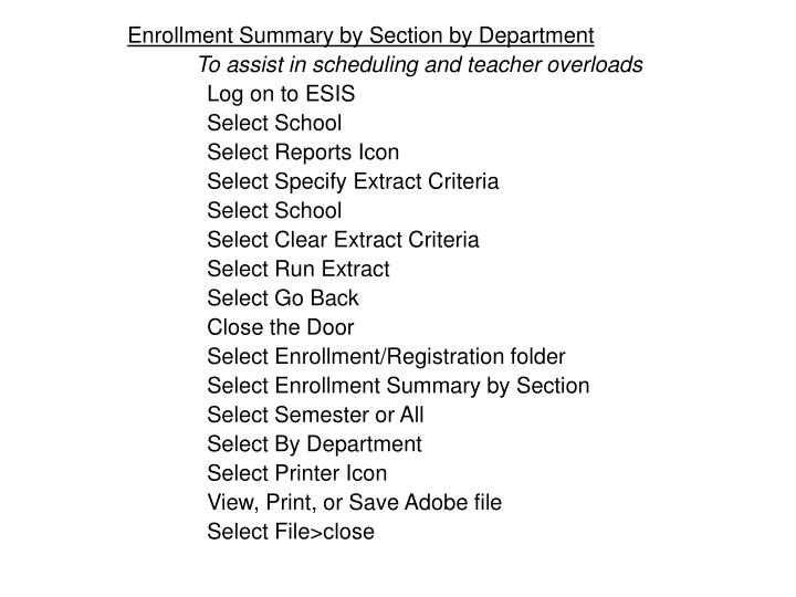 Enrollment Summary by Section by Department