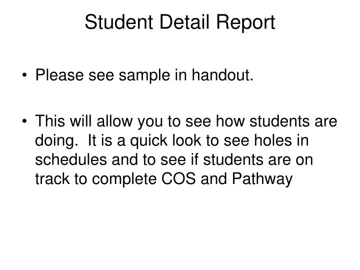 Student Detail Report