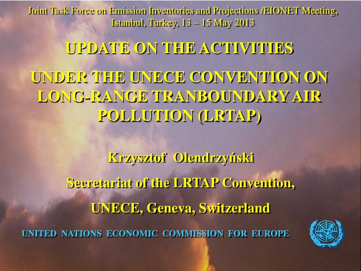 Joint Task Force on Emission Inventories and Projections /EIONET Meeting,