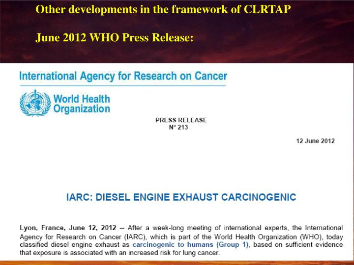Other developments in the framework of CLRTAP
