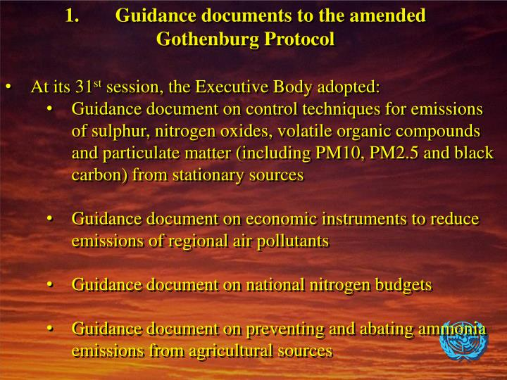 1.Guidance documents to the amended Gothenburg Protocol