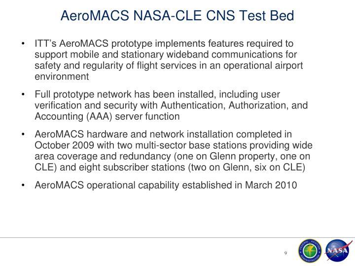 AeroMACS NASA-CLE CNS Test Bed