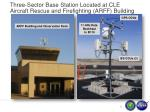three sector base station located at cle aircraft rescue and firefighting arff building