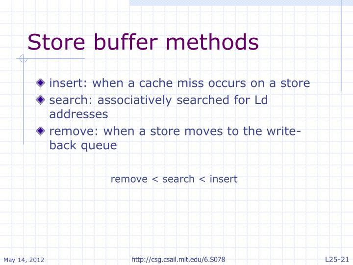Store buffer methods