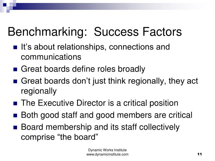 Benchmarking:  Success Factors