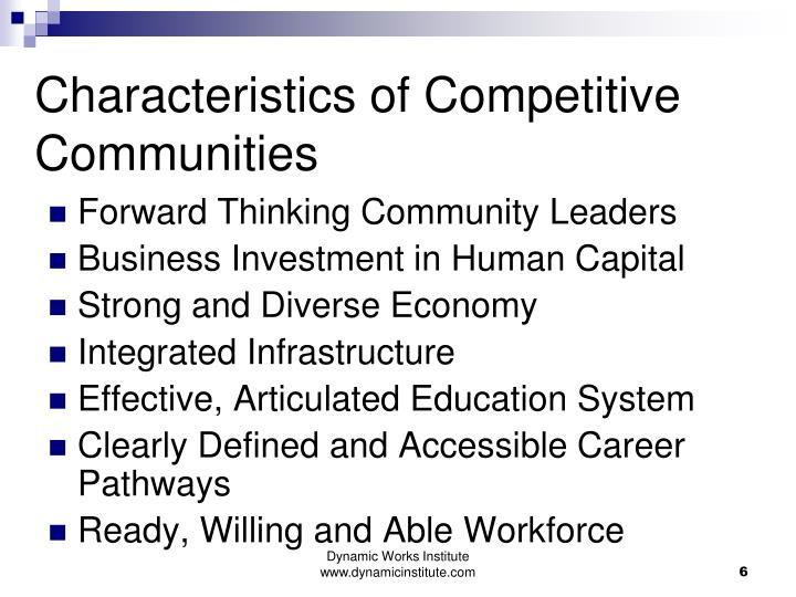 Characteristics of Competitive Communities
